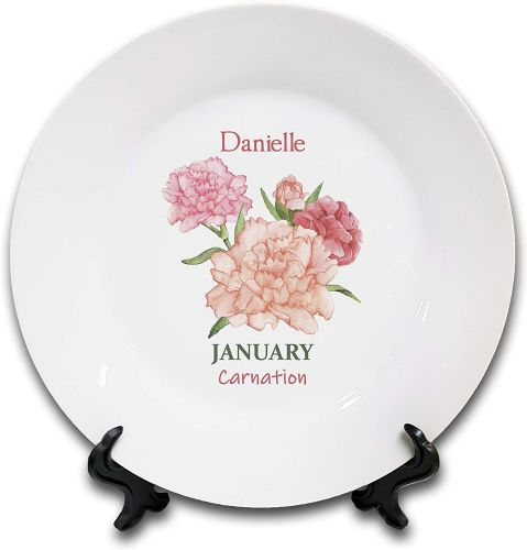 Personalised Flower of The Month January Novelty Gift Ceramic Plate & Stand